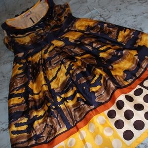 Yoana Baraschi Yellow Navy Blue 100% Silk Dress 0